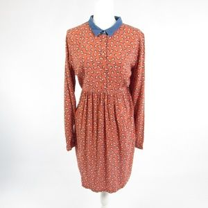 Envie de Fraise orange long sleeve A-line dress 10